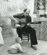 Pedro Bacan con su hijo. lebrija, 1983
